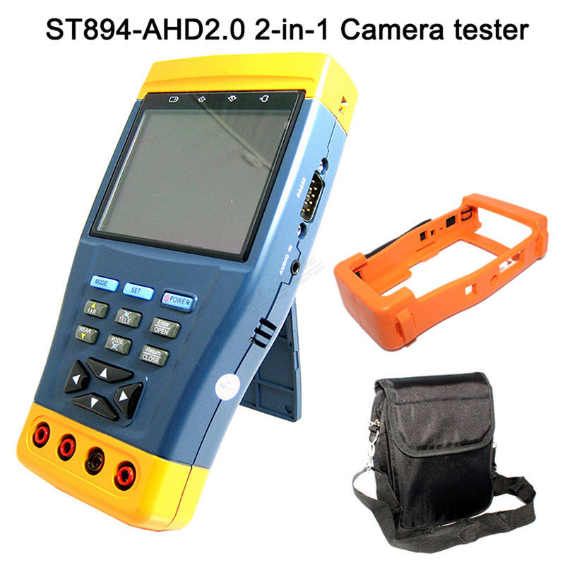 ST-894 AHD 3.5 LCD Monitor 1080p HD-AHD and Analog CCTV Camera Test PTZ Control 12V Output Multi-meter function Tester