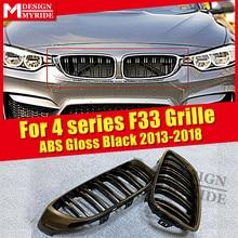 цена на F33 2-door Front Grille ABS Gloss Black For F33 M Style 2-Slats Grills 420i 428i 430i 435i 440i Front Bumper Kidney Grille 2013+