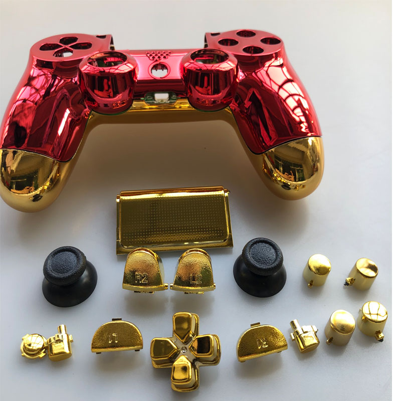 Full Housing Shell Plating Case Cover Button For PS4 Pro Playstation 4 Pro JDM 040 JDS 040 V2 Controller Chrome Gold Red Replace