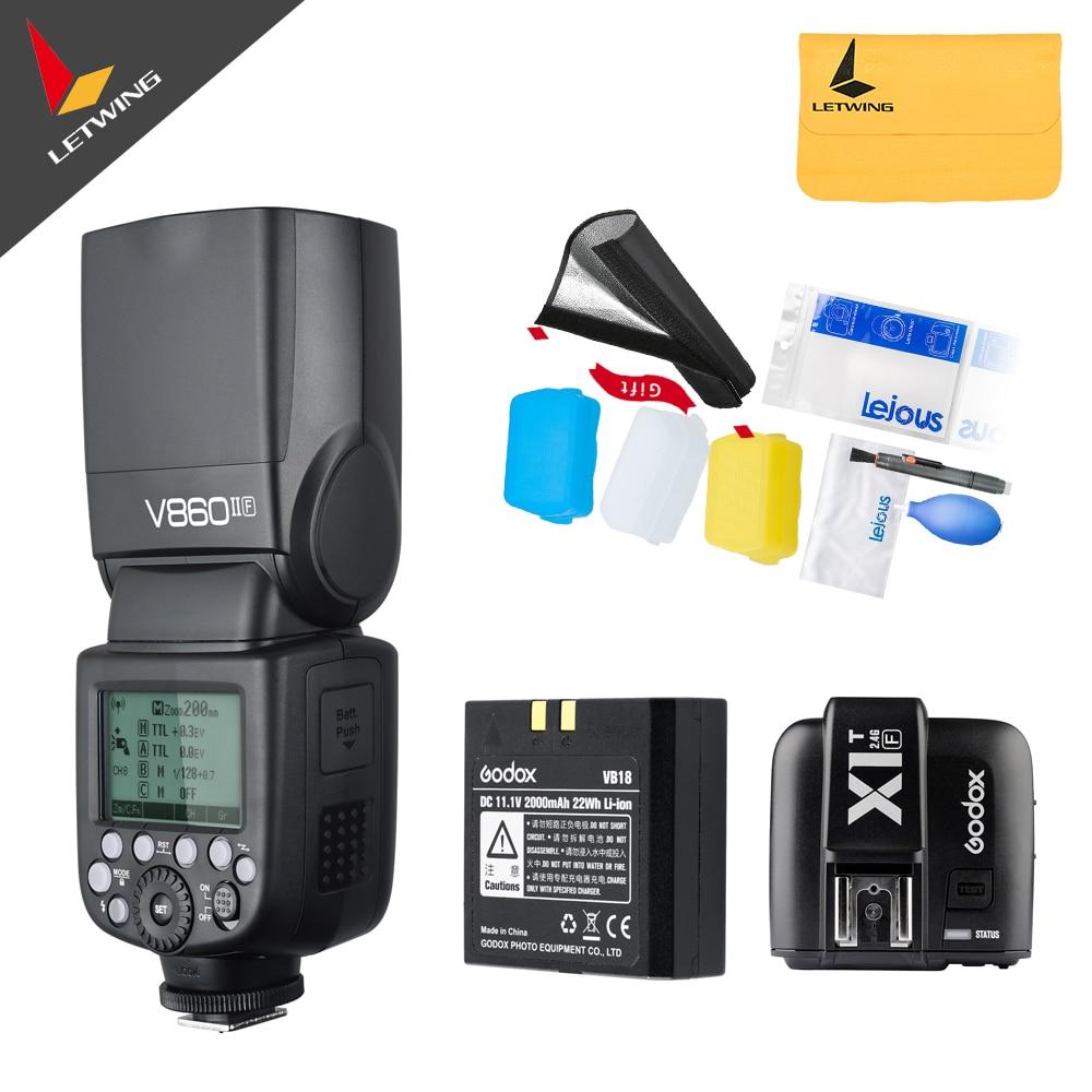 En Stock!!! Godox V860II F V860IIF Caméra Flash Speedlite Strobe + X1TF Émetteur pour Fujifilm avec TTL HSS 1/3000 1/20000