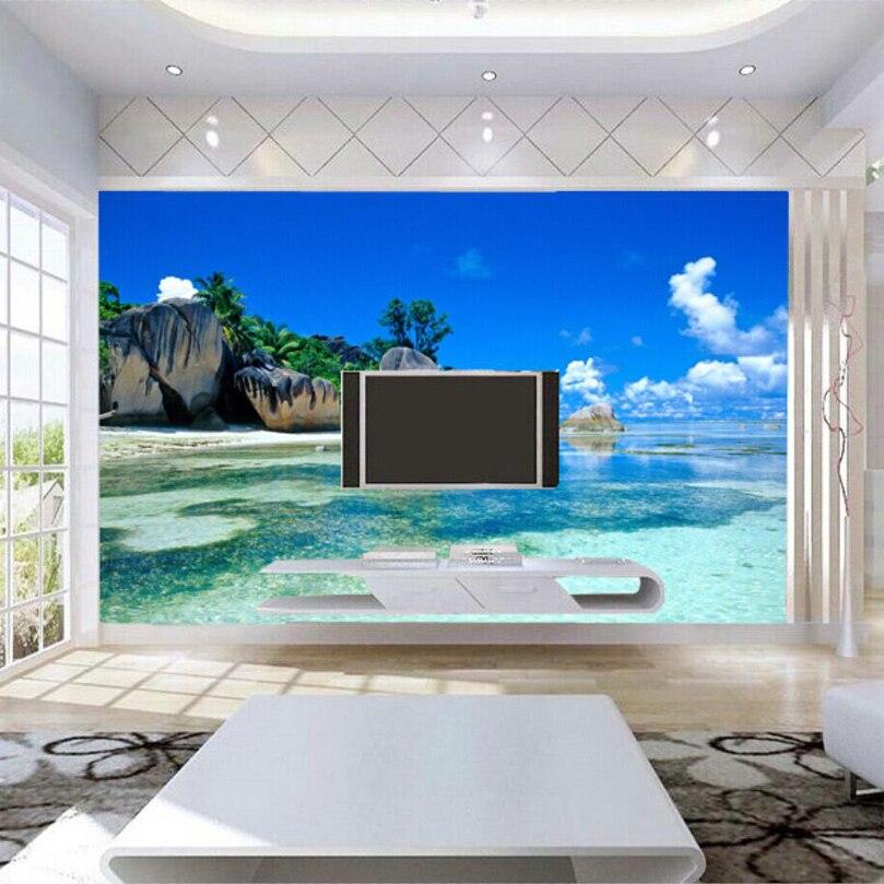 High Quality Aliexpress.com : Buy Custom 3D Mural Wallpaper Non Woven Bedroom Livig Room  TV Sofa Backdrop Wall Paper Ocean Sea Beach 3D Photo Wallpaper Home Decor  From ...