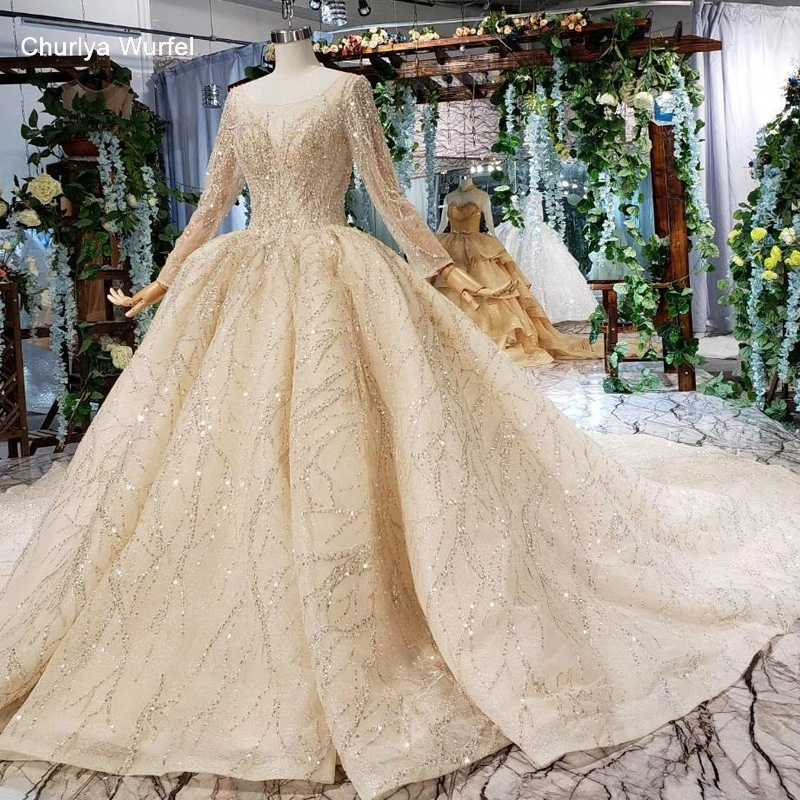 HTL539 champagne gold wedding dresses with train o neck long sleeve ball gown lace wedding gowns vestido de noiva 2019 luxo
