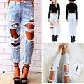 Mulheres Angustiado Destruído Rasgado Calças Lápis Buraco Nove Pontos Calça Jeans Boyfriend