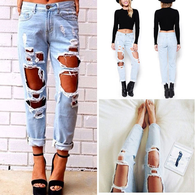 Women Distressed Destroyed Ripped Hole Pencil Pants Nine Points Boyfriend Jeans