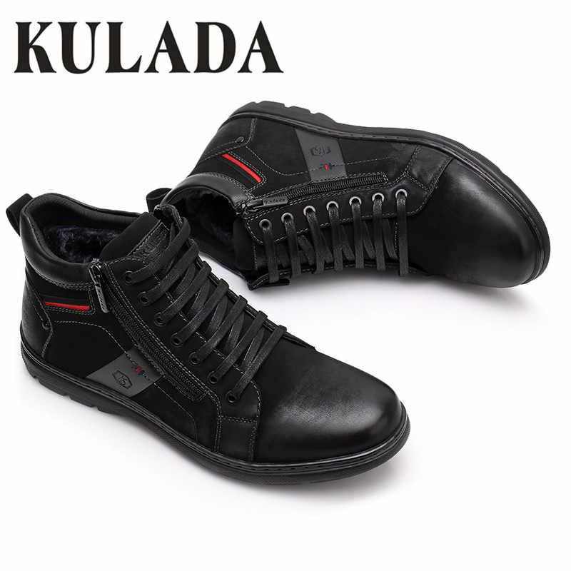 KULADA Nieuwste Mannen Warm Casual Laarzen Hoge Kwaliteit Leer Enkellaars Mannen Lace-Up Schoenen Double Side Rits Laarzen hombre