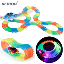 Race Track Car Hot Wheels Bend Flex Glow in the Dark Plastic Railway Electronics Car Flashing Lights 5 LED Car Toy For Children