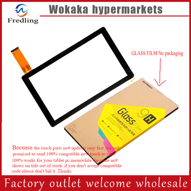 Tempered glass protector film+New For 7 BDF Q7 Quadcore A33 Tablet touch screen panel Digitizer Glass Sensor Replacement witblue new touch screen for 9 7 archos 97 carbon tablet touch panel digitizer glass sensor replacement free shipping