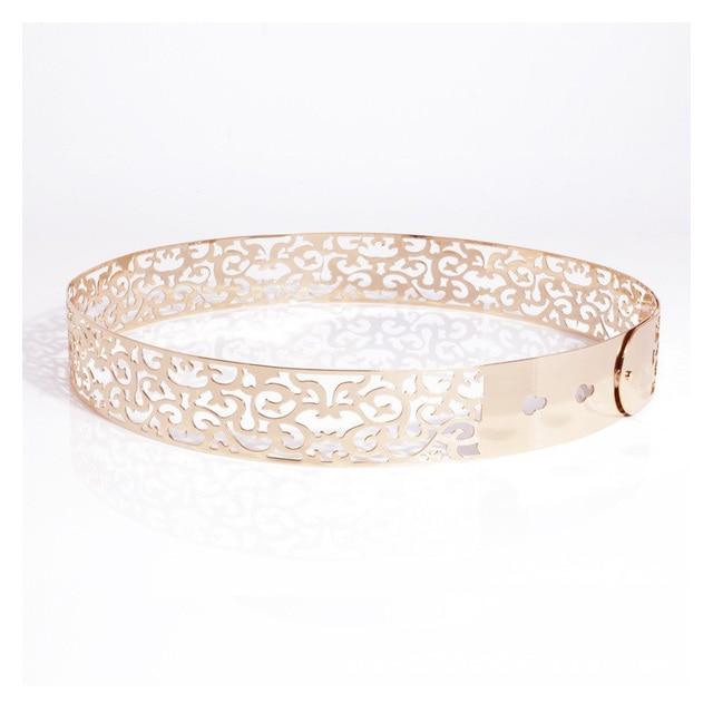 e623df291ad2b Élégant or plaque de métal ceinture fleur de mariage ceintures pour les  femmes robe brillant or