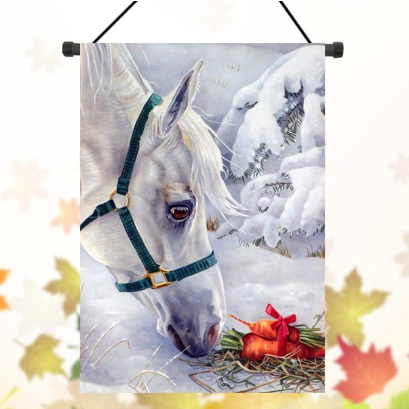 Winter Garden Flag White Horse Snow Carrot Banner 28u0027u0027 X 40u0027u0027 /12.5u0027u0027 X  18u0027u0027 Custom Garden Flags Banner Flags Christmas Gift