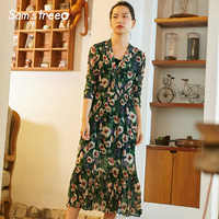 Samstree Vintage Chiffon Dresses Flower Print Long Sleeve Women Long Dress Elastic Waist Loose V-neck Female Vestidos