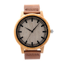 Fashion Handmade Watch Men Women Made from Real Bamboo Wood  No Paint and No Chemical with Geniune Leather Strap
