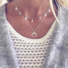 2019 New Bohemian Round Moon Silver Multi-layer Short necklace Statement Necklaces & Pendants