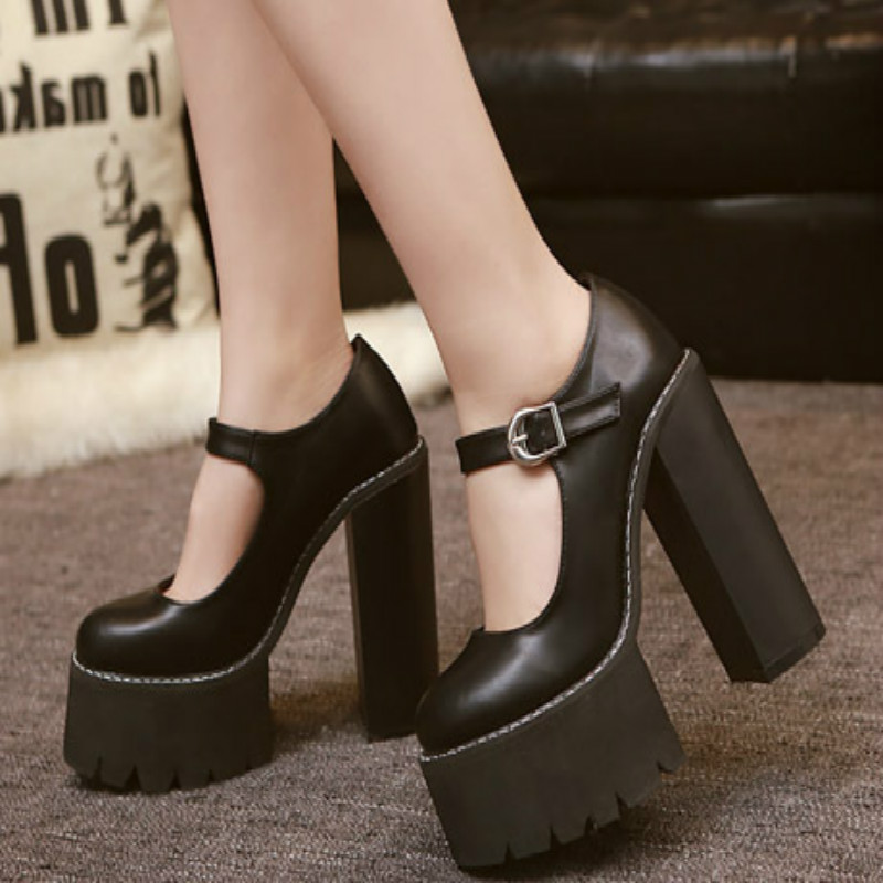 2018 new fashion nightclub women high heels autumn high platform women's pumps quality pu leather women shoes