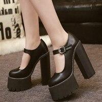 2018 new fashion nightclub women high heels autumn high platform women's pumps quality pu leather women shoes