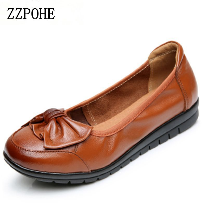 ZZPOHE Spring Autumn Women Flats Fashion Genuine Soft Leather Women Shoes Casual Nurse Work Shoes Woman Comfortable shoes 35-41 aiyuqi 2018 new genuine leather women s shoes shallow mouth soft nurse shoes comfortable work spring shoes women