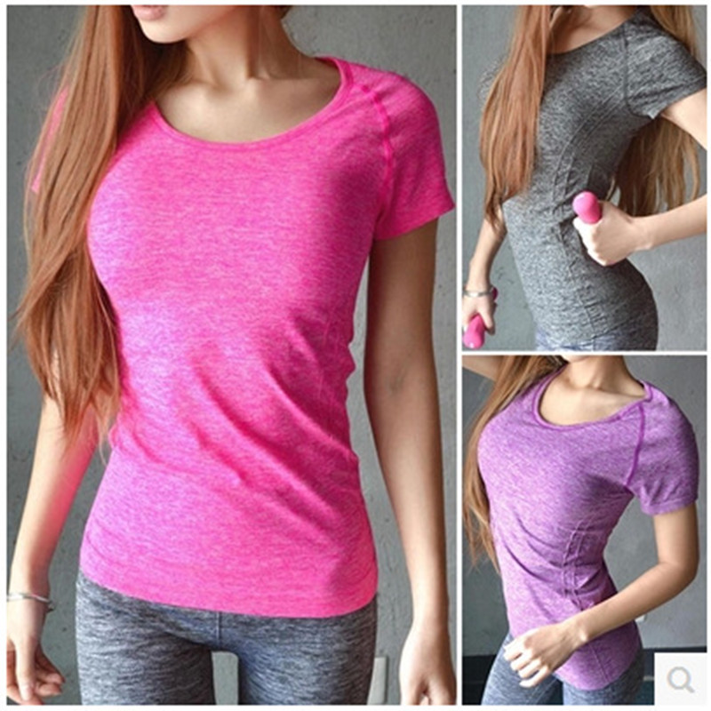 Womens Professional Yoga Shirts Fitness Sports Quick-Drying Perspicuousness Short-Sleeve Exercise Clothes Running Gym T-shirt