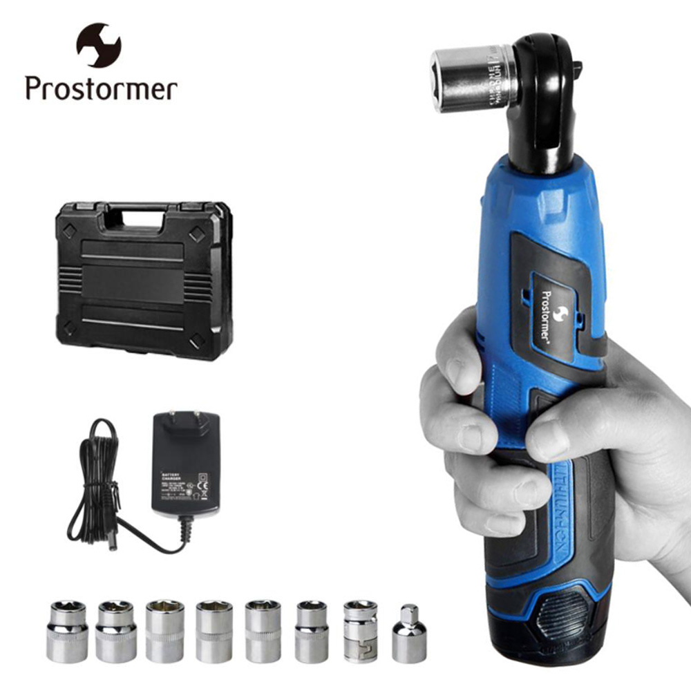 Prostormer cordless 12v wrench torque wrench digital Lithium-Ion Battery electric Wrench Tool Set with box 12v 1 5ah cordless impact wrench speed adjustable rechargeable battery operated torque wrench tightening tool dcpb10a