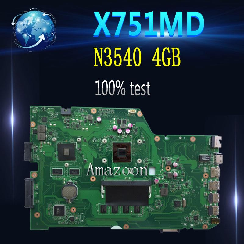 Amazoon  X751MD Motherboard Rev2.0-N3540 4GB For ASUS K751M K751MA X751MA R752M Laptop Motherboard X751MD Mainboard 100% Tested