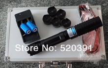 Wholesale High Quality 100000MW 100W 450nm Blue Laser Pointers Burning Match/Dry Wood/Candle/Black/Burn Cigarettes+5 Caps+Glasses+Gift Box