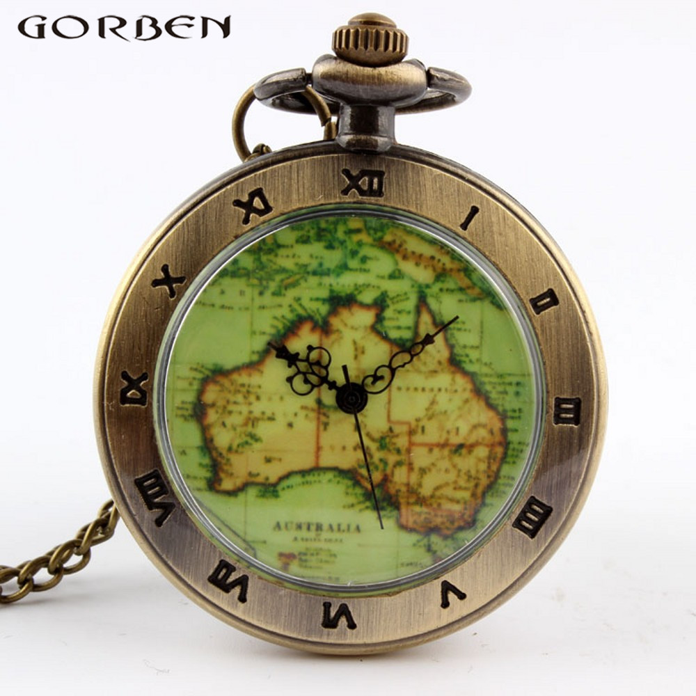 Roman Numerals Australia Map Pocket Watch Simple Style New Fashion Design Unisex Quartz Watch Casual Men Women Gorben Watches