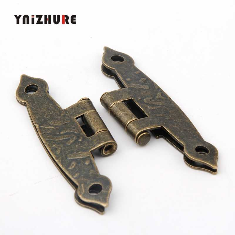 65*34mm 20Pcs Cabinet Door Luggage Hinge 4 Holes Decor Furniture Decoration Antique Vintage Old H Hinges Bronze Tone With Screw