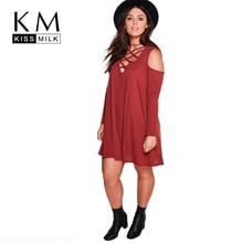 Kissmilk Plus Size Cirss Cross Front Deep V Neck Cold Shoulder Mini Dress Solid Color Loose Women Dress Large Size Mini Dress недорого