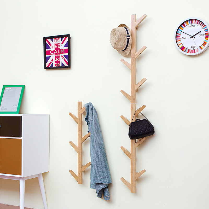 Image 4 - Living room  bedroom decoration hanger coat rack wall clothes hanger natural bamboo tree branch wall storage shelf 6 hooks-in Coat Racks from Furniture