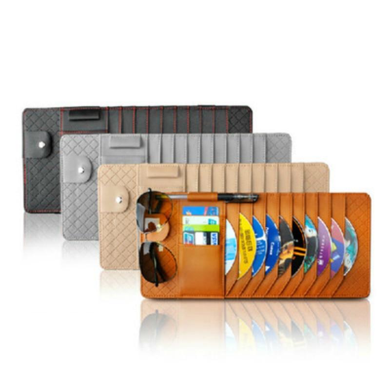 PU Leather Sun Visor Storage Bag Car Notes Pouch CD Receive Bag DVD Disk Card Visor Case Folder Pocket 1PC
