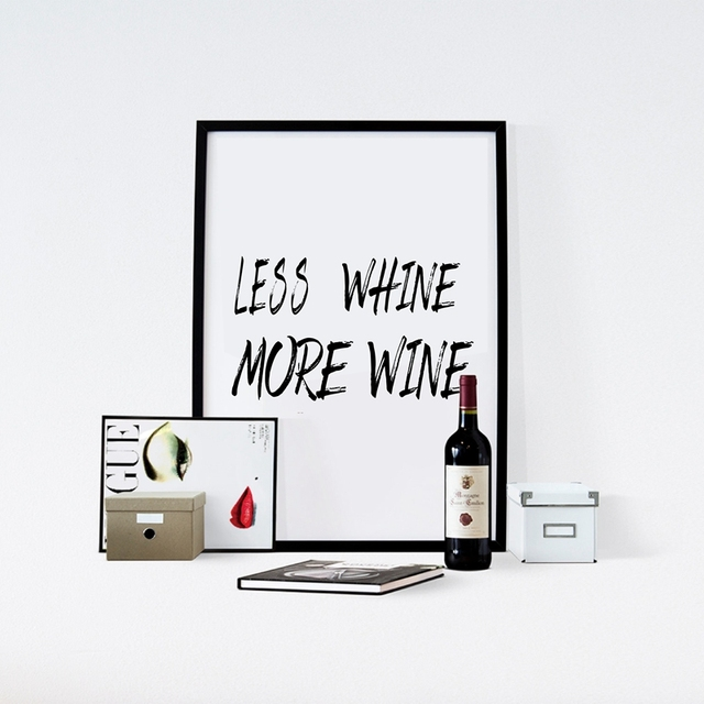 Funny Wine Quote Less Whine More Wine Poster Canvas Art Print 1