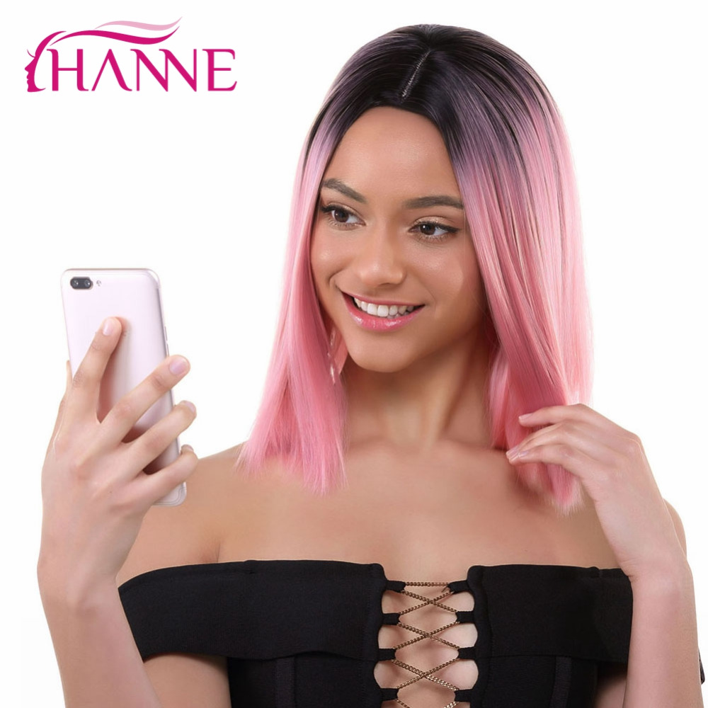 HANNE Pink Bob Wigs Short Haircut Shoulder-length High Temperature Fiber Ombre Synthetic Wig For Women Daywear Cosplay Or Party Бюстгальтер