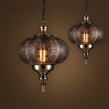 Лофт стиль полые железная переносная лампа промышленных Винтаж светодио дный led подвесные светильники обеденная подвесной светильник осве...