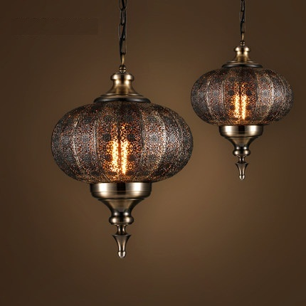 Loft Style Hollow Iron Droplight Industrial Vintage LED Pendant Light Fixtures Dining Room Hanging Lamp Indoor Lighting
