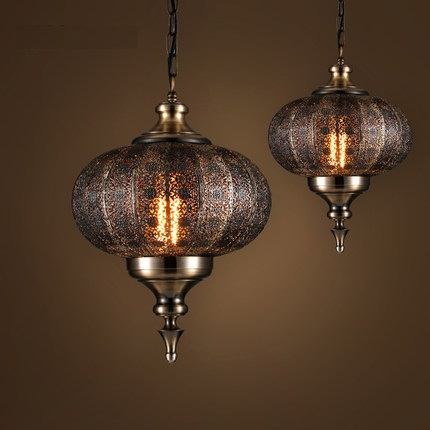 Loft Style Hollow Iron Droplight Industrial Vintage LED Pendant Light Fixtures Dining Room Hanging Lamp Indoor Lighting