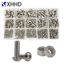 Hex Socket Button Head Cap Screw Metric Thread Pan Head Hexagon Machine Bolt Set Assortment Kit Box 304 Stainless Steel M3 M4 M5 2pcs m4 200mm m4 200mm thread length 16mm 304 stainless steel dual head screw rod double end screw hanger blot stud