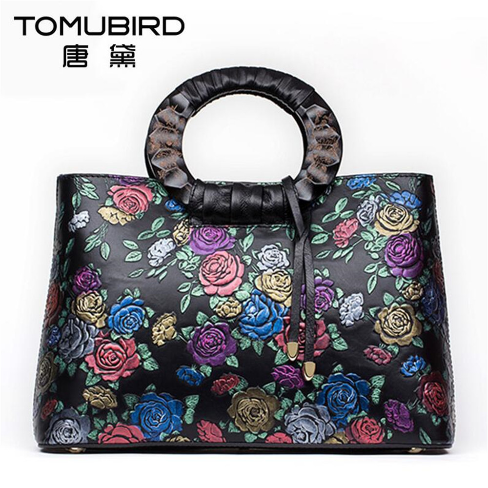 Women handbag fashion tote bags top-handle bags Hand-painted embossed design ladies Messenger Bags genuine leather female totes genuine leather cross body top handle bags embossed natural skin hobo vintage female women messenger shoulder tote handbag