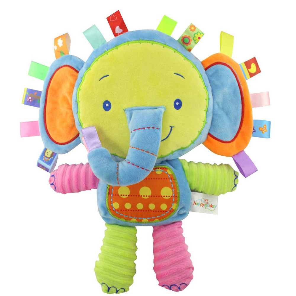 5 styles Animals Baby Plush Toys soft Elephant Calm Doll Towel Baby Toys With BB Ring Plush Rattles Toys gift Factory Wholesale