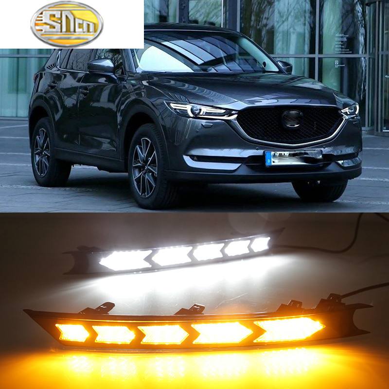 Car Flashing LED Daytime Running Lights For Mazda cx-5 cx5 cx 5 2017 drl fog lamp 12V ABS DRL Driving lights with turn signals for toyota corolla 2017 2018 car flashing fog lamp cover led daytime running lights 12v abs drl with yellow turn signal lights