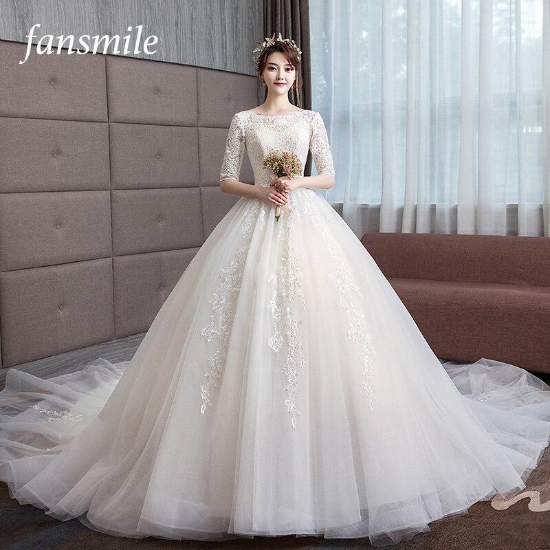 c340a318a7c Fansmile 2019 длинным шлейфом Vestido De Noiva кружева платья Свадебные  платья рукава на заказ плюс Размеры