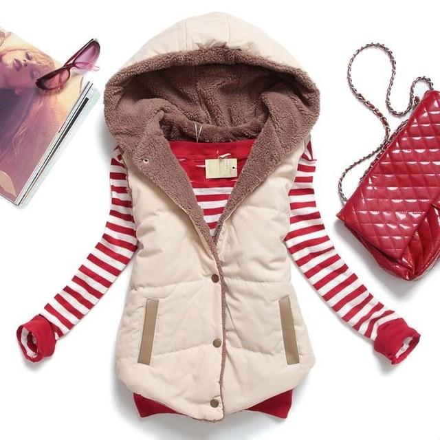 2015 nuevos abrigos con capucha de la mujer del chaleco del chaleco grueso cálido forro de lana chalecos de mujer patchwork cuero de la pu mujeres herringbone chaleco