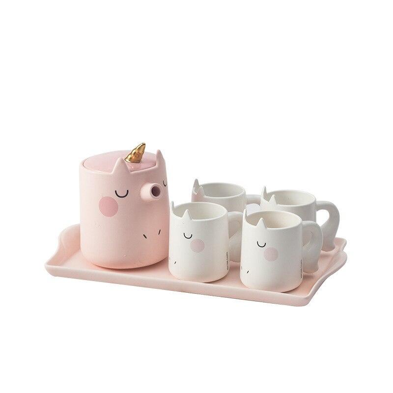 Encantador Dos Desenhos Animados do Unicórnio Conjunto Terno 3d Tridimensional Animais Xícara de Café xícara de Cerâmica Xícara de Água Prático Presente de Negócios - 5