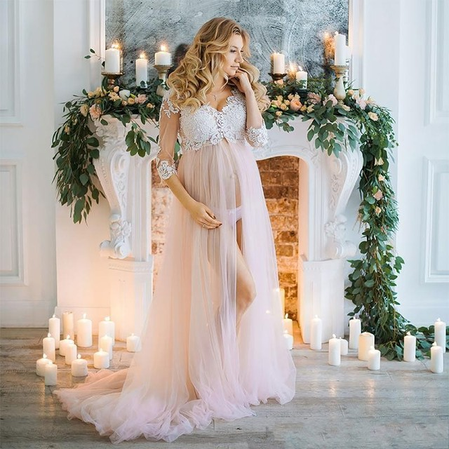 Blush Pink Long Tulle Maternity Dresses With Half Sleeves Appliques Pregnant Women Dress To Photoshoots 2018 V-neck Custom Made