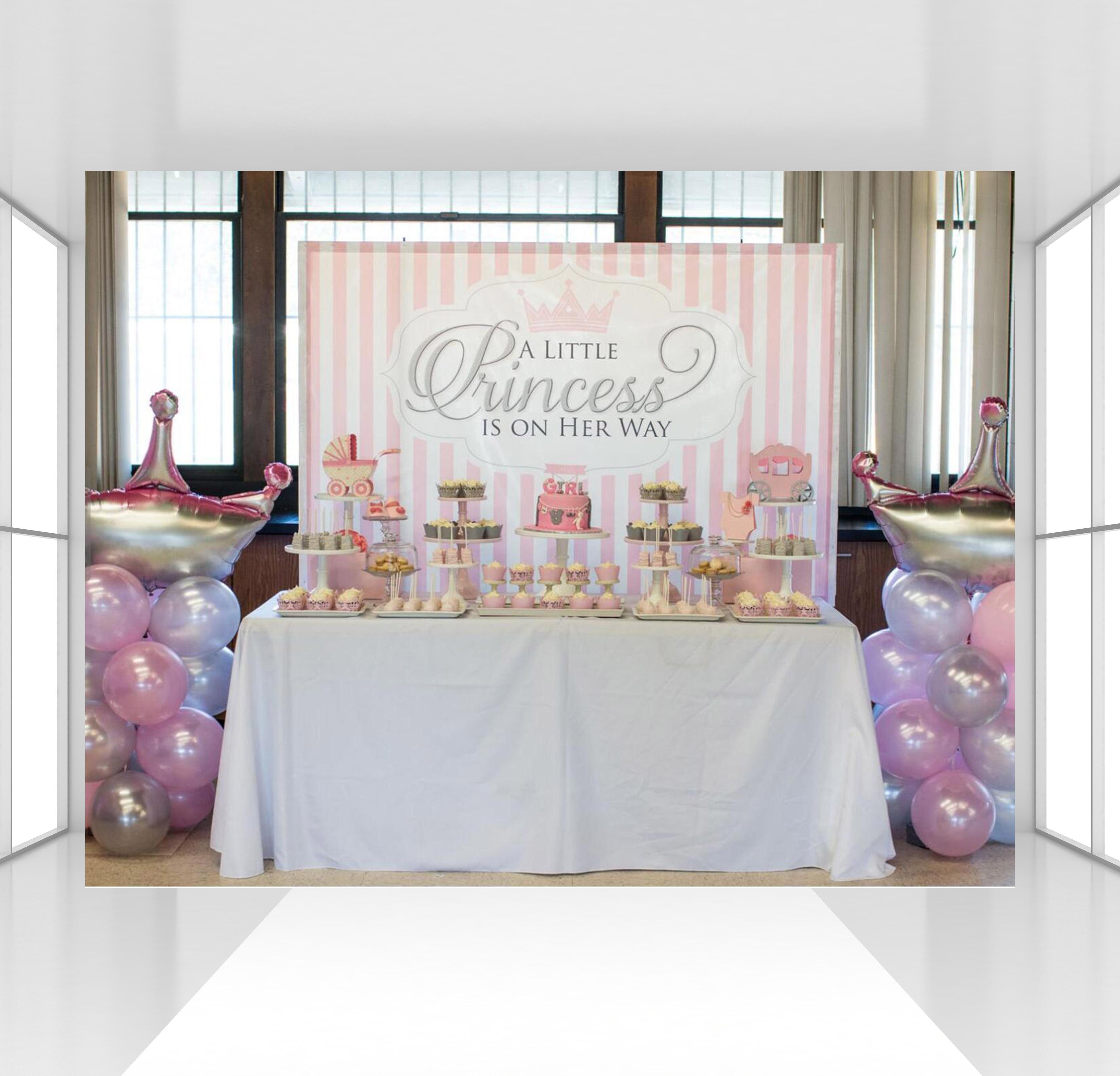 HUAYI personnalisé rose blanc rayé nouveau-nés anniversaire toile de fond fille bébé douche fête décor photophone fond princesse toile de fond