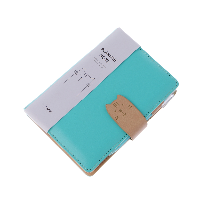 Cat Buckle Planner Notebook Pu Leather School Sketchbook Travel Notebooks Journals Day Filofax Agenda W30 cagie business planner notebook vintage hasp office agenda origanizer meeting filofax pu leather school notebooks