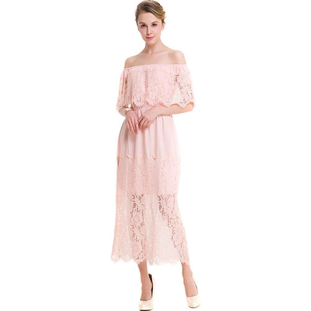 Abiti Eleganti Estivi.Nuovo Qualita Nero Rosa Del Merletto Dress Women Plus Size Abiti