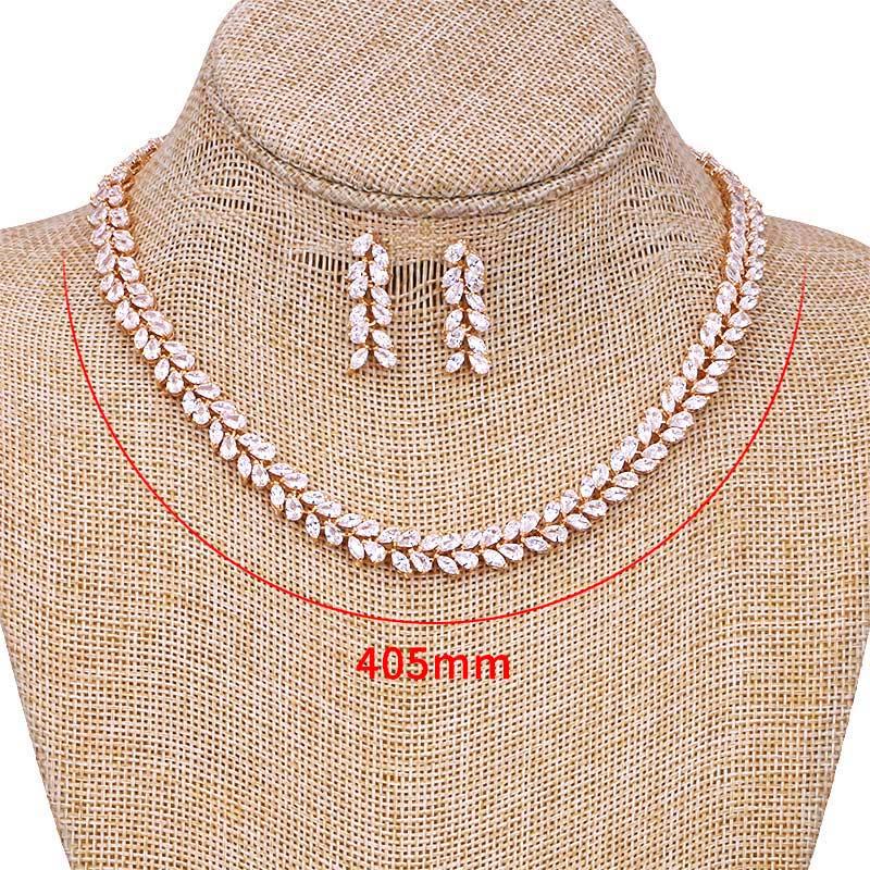 Image 5 - Set of 3 Cubic Zirconia Leaf Design Tennis Necklace Earrings and  Bracelet Bridal Wedding Jewelry Set in White Gold Color Platedbridal  wedding jewelry setsearings and braceletsnecklace earring
