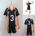 Мода Аниме Haikyuu! костюм Karasuno средней Школы Волейбольный Клуб Camisola № 3 Hzumane Hsani Спортивные Трикотажные Изделия
