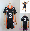 Moda Anime Haikyuu! traje de Voleibol Karasuno Secundaria Club Camisola No. 3 Hzumane Hsani Camisetas Deportivas