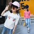 Девушки футболка Дети футболка мультфильм печать Футболки Camiseta infantil menino Девушки футболка roupas вязание Детская одежда Топы