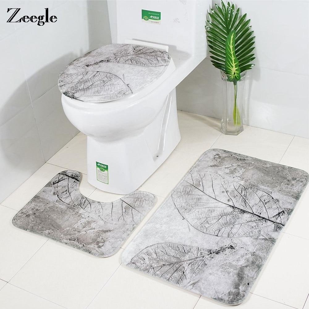 Zeegle White Leaf Bath Mat Bathroom