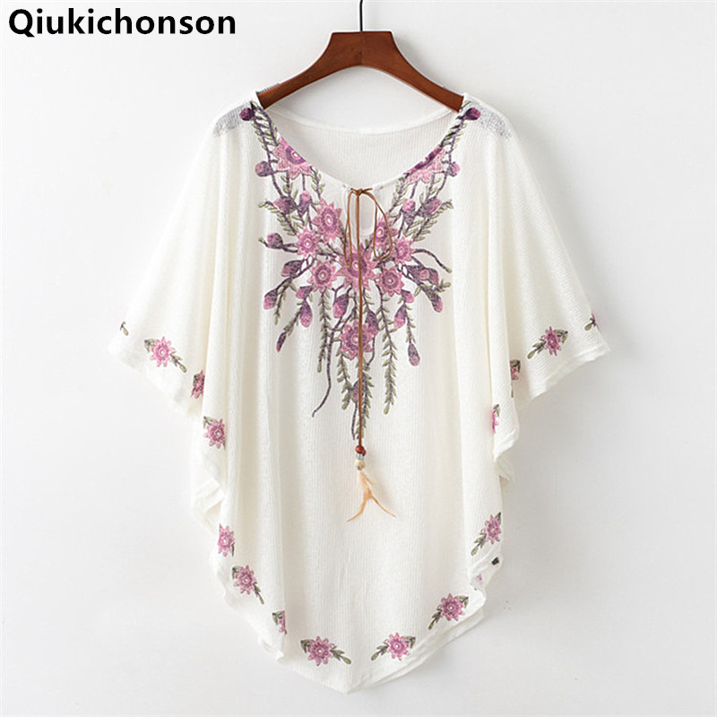 Qiukichonson Women Batwing Tops Summer 2019 Bohemian Style Ethnic Loose Lace Up Blouses Ladies Jewel Flower Print Cloak Tops